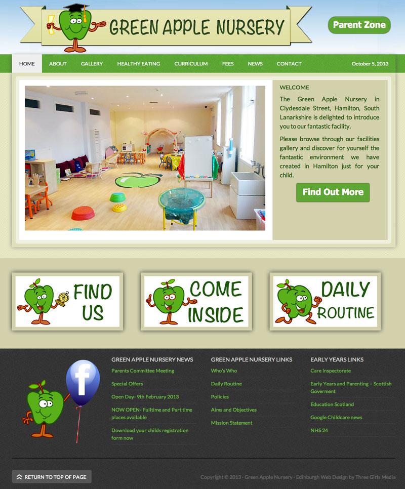 website design for nurseries by three girls media the