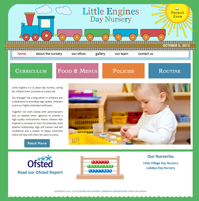 little-engines-nursery-website-design-home-page