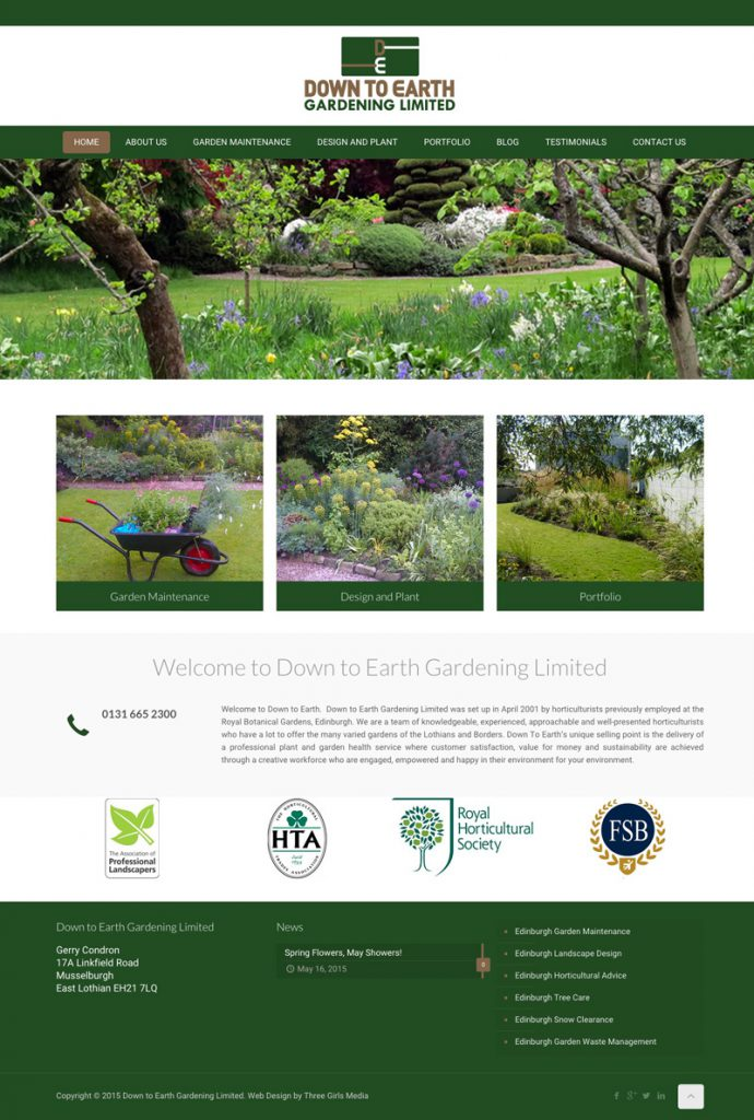 Gardening Web Design For Down To Earth Gardening