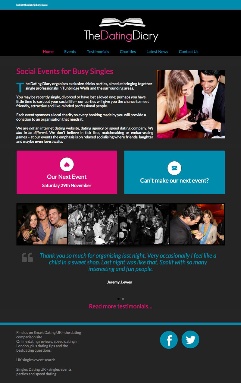 The Dating Diary - Home - Tunbridge Wells Web Design by Three Girls Media