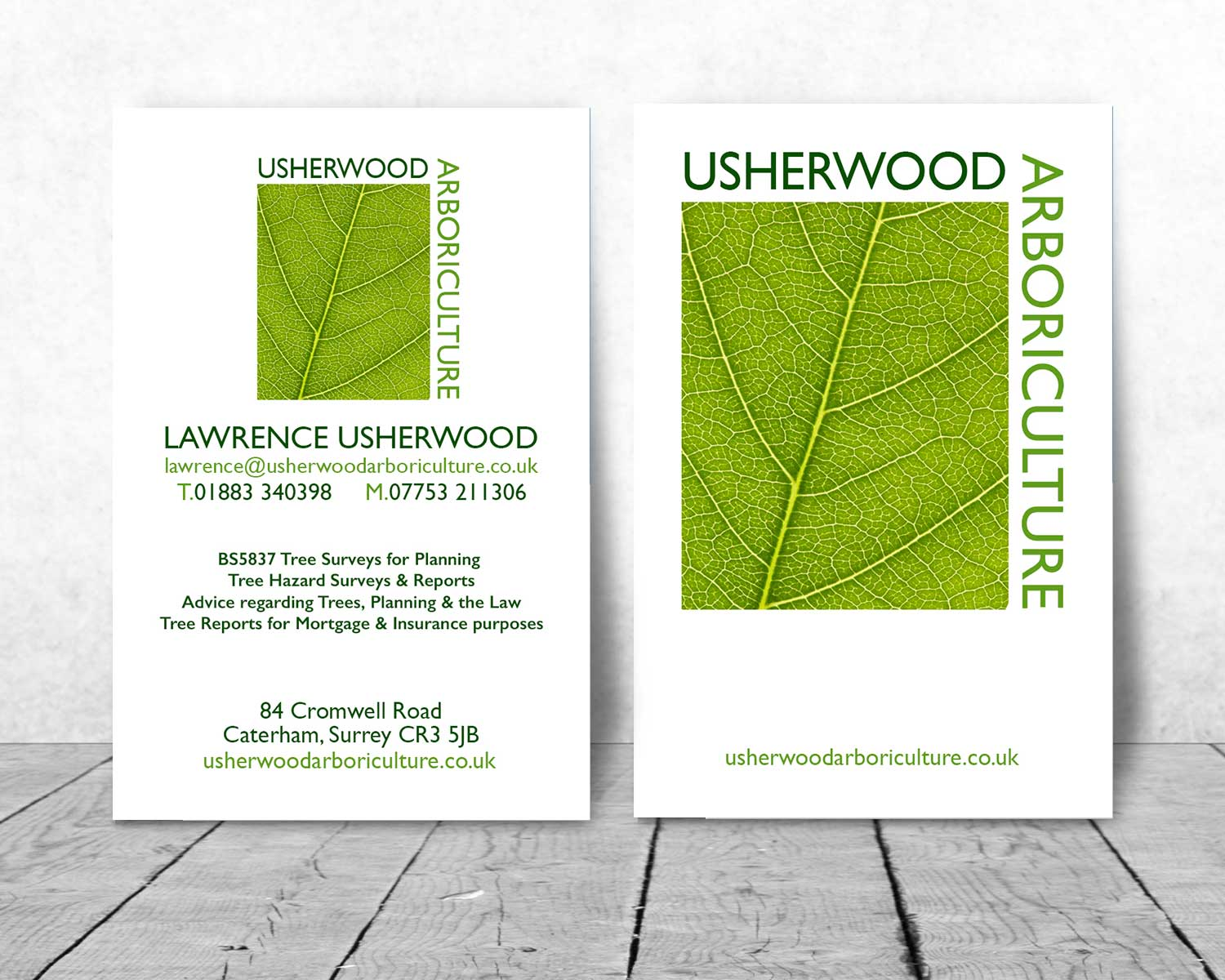 Caterham-Bradning-Logo-Design-for-Usherwood-Arboriculture