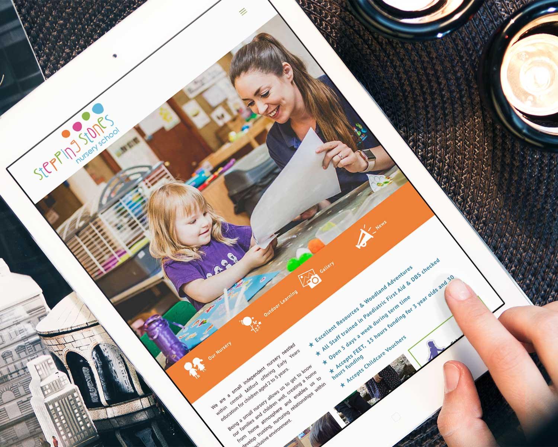 Nursery-School-Web-Design-for-Stepping-Stones-Nursery-by-Three-Girls-Media_Ipad